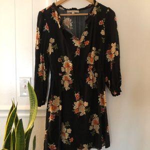 LOFT Black Floral Bouquet Smocked Flare Dress